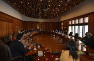 Special committee of coordinators and executive directors of the GEAP, led by their Global Ambassador, Dr. William Soto Santiago, are welcomed to the Sessions Hall of the Supreme Court of Justice of Colombia, by its President, Dr. Luis Gabriel Miranda Buelvas and the Vice President, Dr. Jose Leonidas Bustos Martinez.