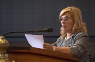 """""""... It is our ethical obligation to find in these types of academic meetings, ways to build a culture of peace"""" said Dr. Hermelinda Alvarenga de Ortega, secretary pro temporé of the ALIUP, in her welcoming speech during the Educational Session of CUMIPAZ."""