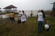 Cleaning the beach at the natural reserve