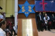 """El proyecto """"Huellas para no olvidar"""" abarca diferentes comunidades: el Tabernáculo de la Fe en Panamá recibió la Placa de Simón Burstein"""